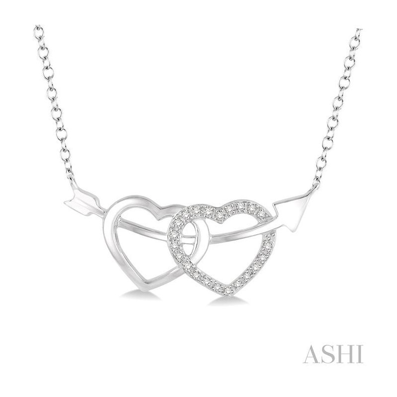 ASHI silver twin heart shape arrow diamond pendant
