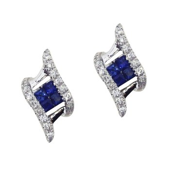 14k White Gold Sapphire and Diamond Angled Earrings