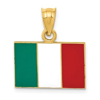 14k Solid Enameled Italy Flag Pendant