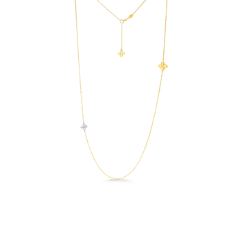 18K GOLD & DIAMOND FLOWER OUTLINE NECKLACE