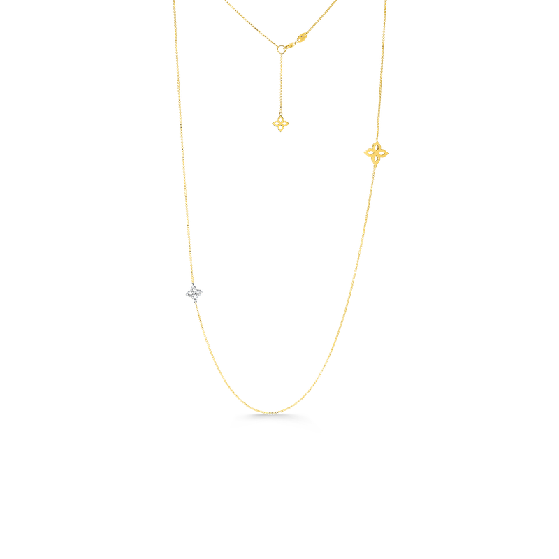 Roberto Coin 18K Gold & Diamond Flower Outline Necklace