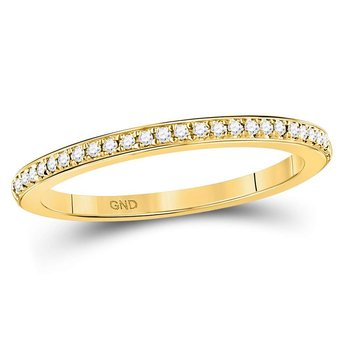 10kt Yellow Gold Womens Round Diamond Single Row Stackable Band Ring 1/8 Cttw