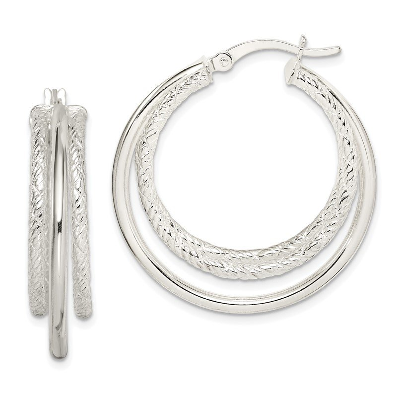 Quality Gold Sterling Silver Textured and Polished Triple Hoop Earrings