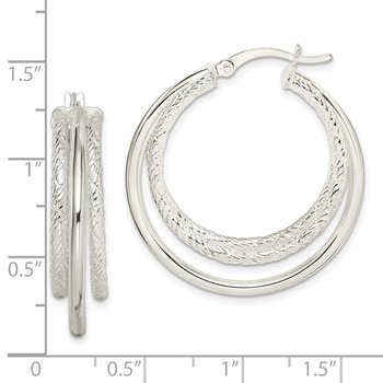 Sterling Silver Textured and Polished Triple Hoop Earrings