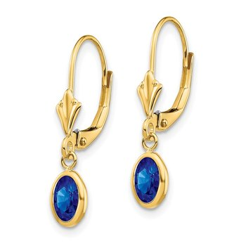 14k 6x4 Oval Bezel September/Sapphire Leverback Earrings