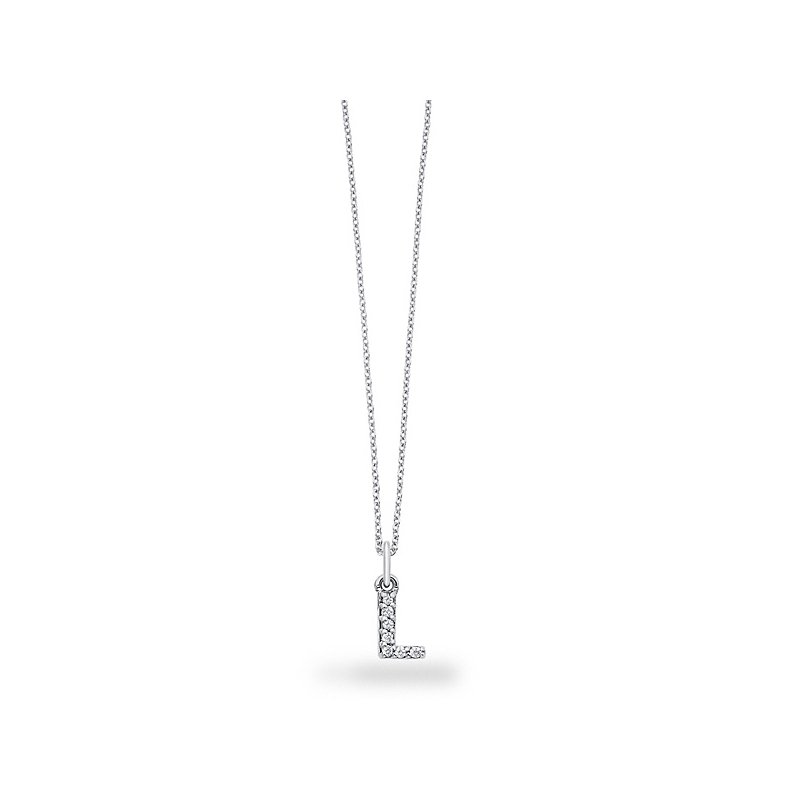 "KC Designs Diamond Baby Block Initial ""L"" Necklace in 14k White Gold with 7 Diamonds weighing .05ct tw."