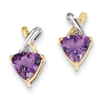 14k & Rhodium Amethyst and White Topaz Trillion Post Earrings