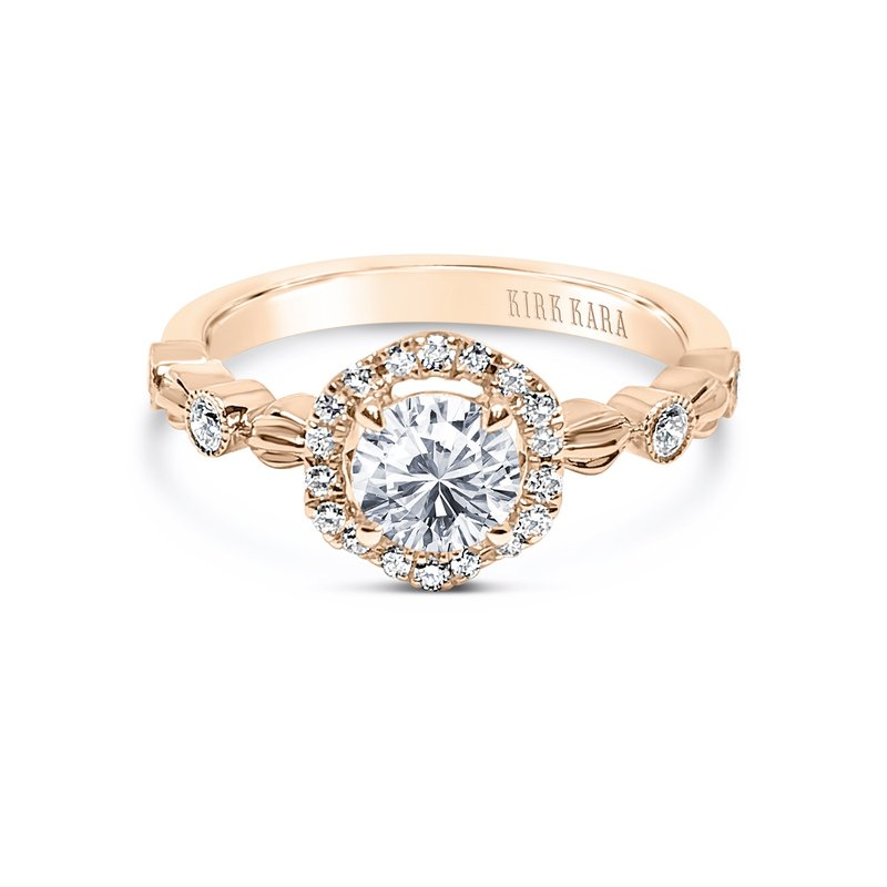 Kirk Kara Leaf Halo Diamond Engagement Ring