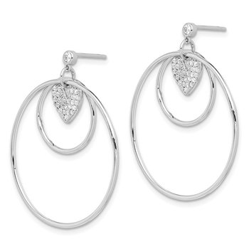 Sterling Silver RH-plated Double Circle w/CZ Heart Post Earrings
