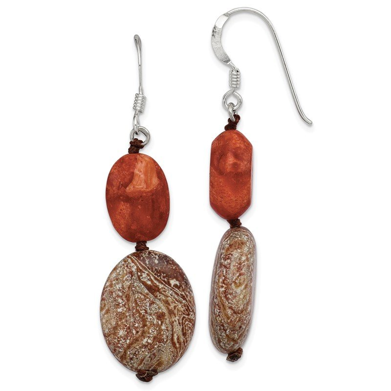 Quality Gold Sterling Silver Red Reconstructed Stone/Red Zebra Jasper Earrings