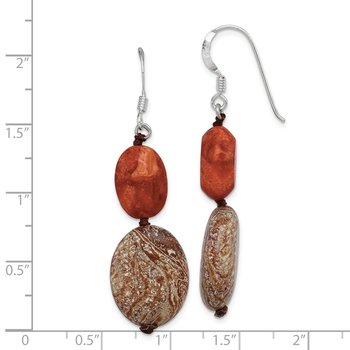 Sterling Silver Red Reconstructed Stone/Red Zebra Jasper Earrings