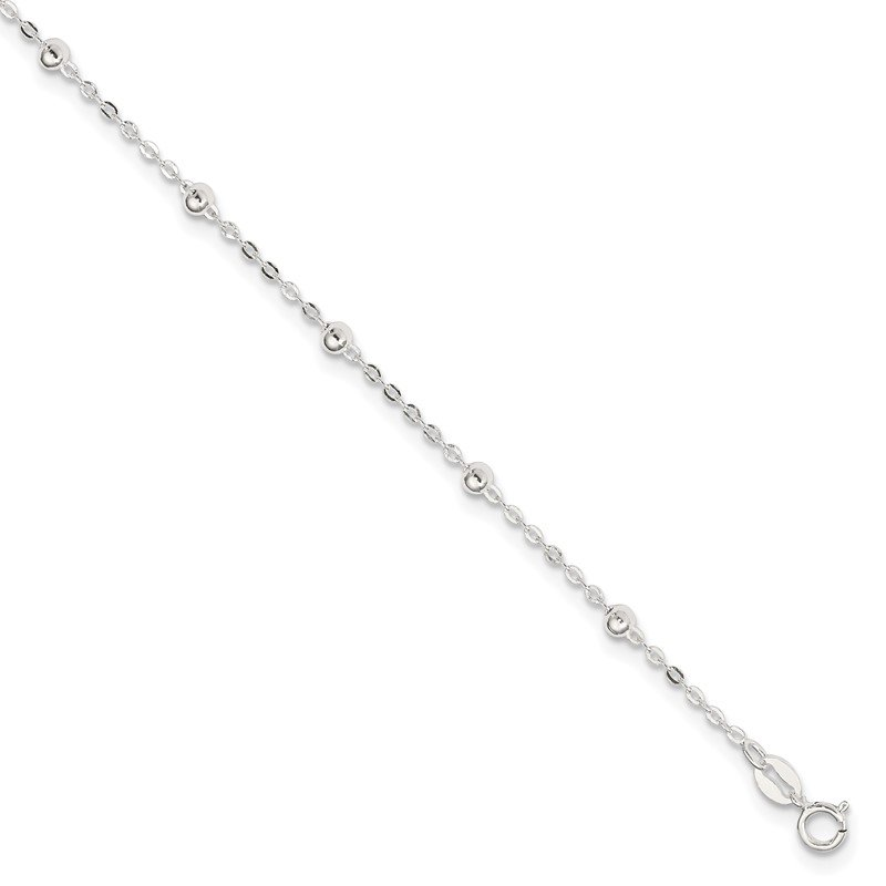 Quality Gold Sterling Silver 1mm Beaded Chain 9in Plus 1in ext. Anklet