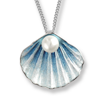 Sterling Silver Shell Necklace -Blue. Pearl.