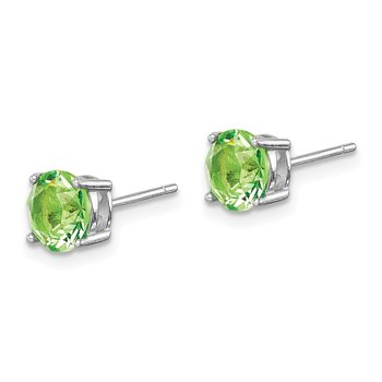 Sterling Silver Rhod-pltd Light Green Swar Crystl Birthstone Earrings