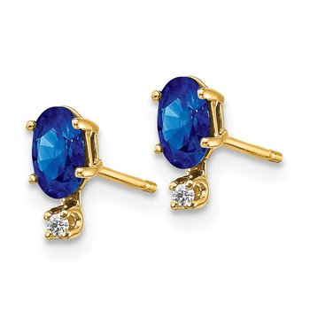 14k Diamond & Sapphire Birthstone Earrings