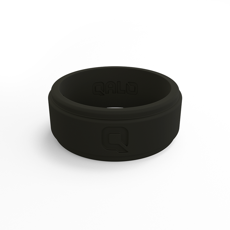 Qalo Men's Step Edge Black Silicone Ring