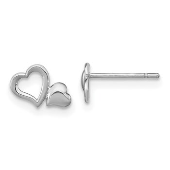14k Madi K White Gold Heart Dangle Post Earrings