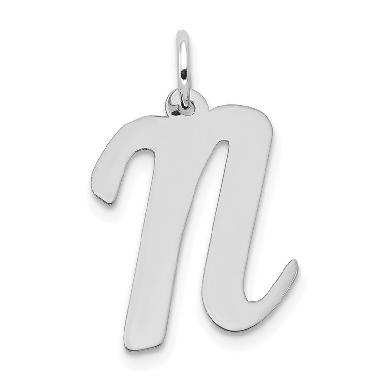 Quality Gold 14k White Gold Large Script Letter N Initial Charm
