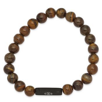 Stainless Steel Brushed Black IP Medical ID Tiger's Eye Stretch Bracelet