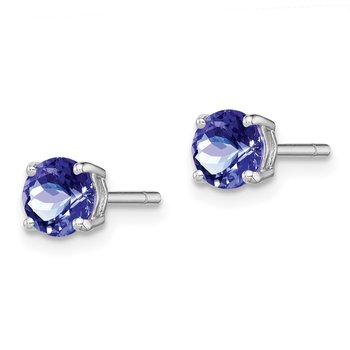 Sterling Silver Rhodium-plated Round Tanzanite Post Earrings