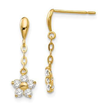 14k Madi K CZ Children's Flower Dangle Post Earrings