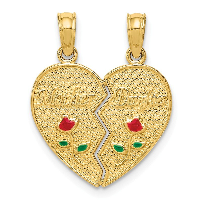 Quality Gold 14k Enameled Mother - Daughter Pendant