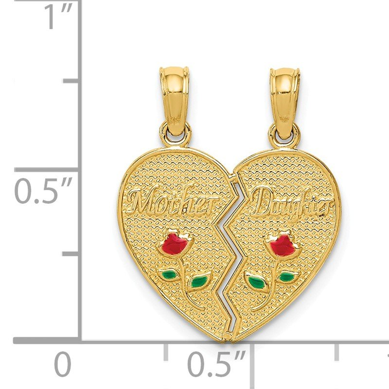 Quality Gold 14k Enameled MOTHER - DAUGHTER Break-apart Pendant