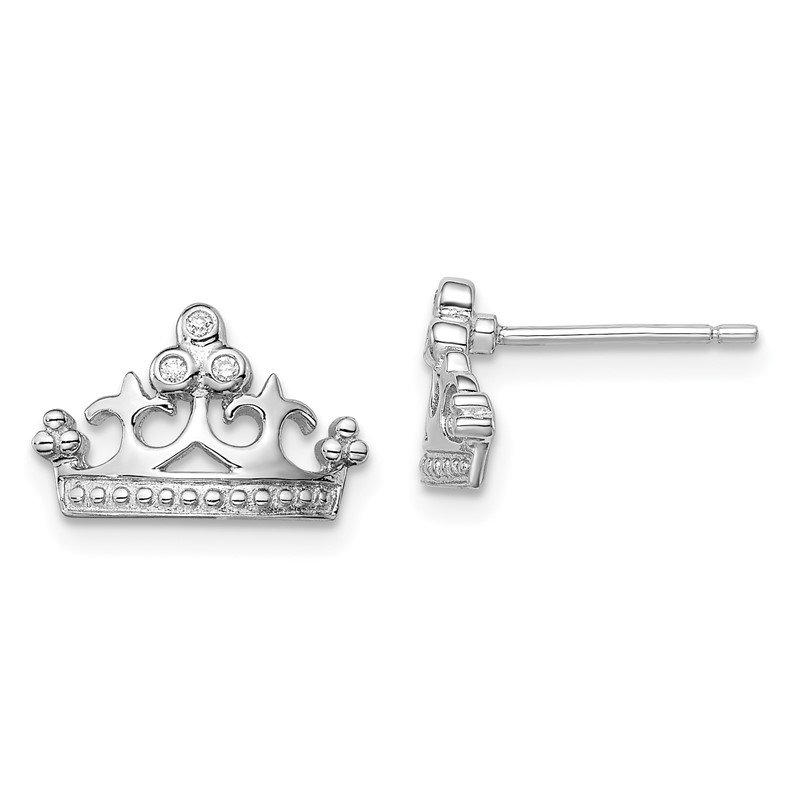 Quality Gold Sterling Silver Rhodium-plated CZ Crown Post Earrings