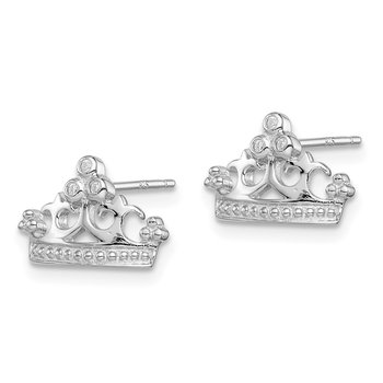 Sterling Silver Rhodium-plated CZ Crown Post Earrings