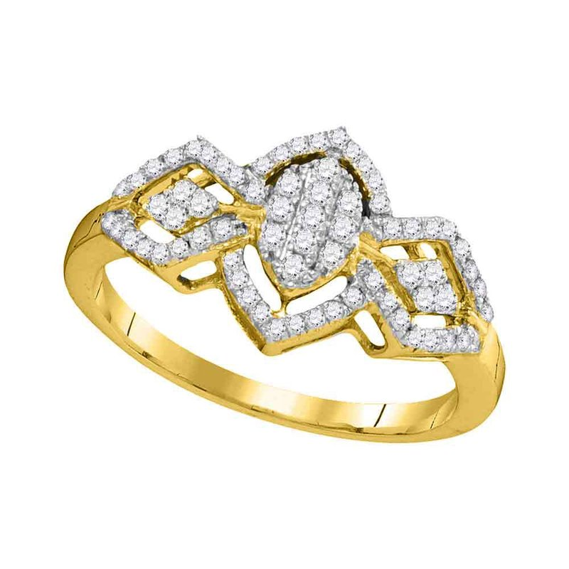 Gold-N-Diamonds, Inc. (Atlanta) 10kt Yellow Gold Womens Round Diamond Oval Cluster Ring 1/3 Cttw