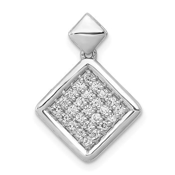 14k White Gold 1/4ct. Diamond Fancy Tilted Square Pendant