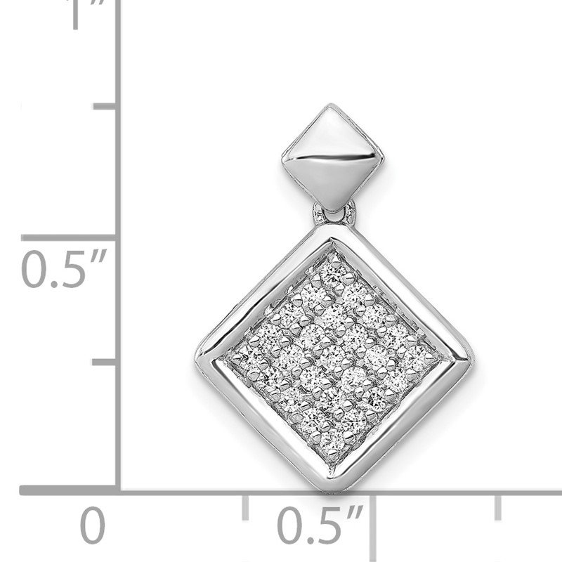 Quality Gold 14k White Gold 1/4ct. Diamond Fancy Tilted Square Pendant