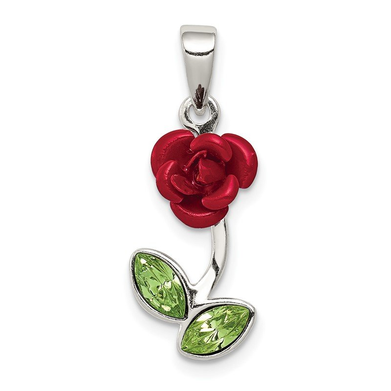 Quality Gold Sterling Silver Red Enamel w/Green CZ Rose Charm