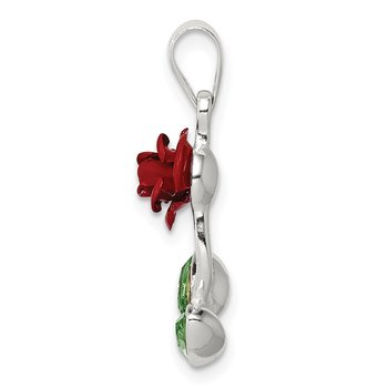Sterling Silver Red Enamel w/Green CZ Rose Charm