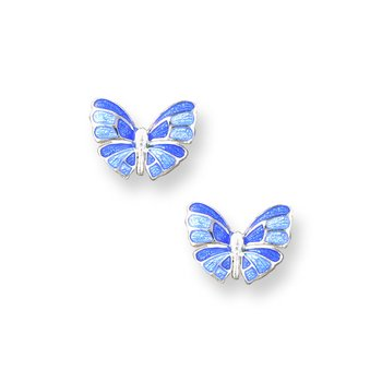 Blue Butterfly Stud Earrings.Sterling Silver