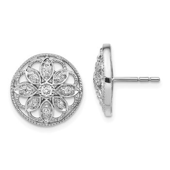 14k White Gold Diamond Fancy Floral Earrings