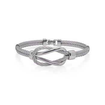 Grey Cable Square Knot Bracelet