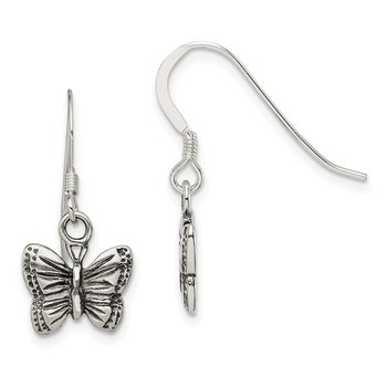 Sterling Silver Antiqued Butterfly Earrings