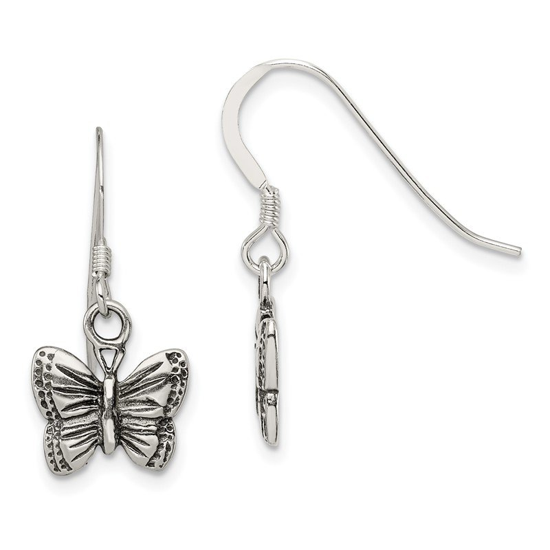 Quality Gold Sterling Silver Antiqued Butterfly Earrings