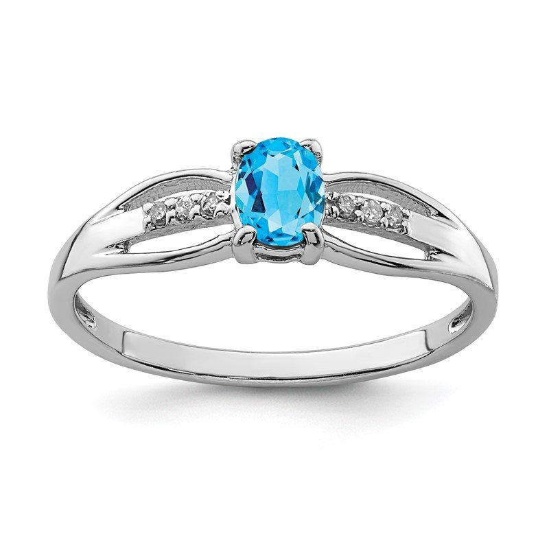 Quality Gold Sterling Silver Rhod-plated Diamond Light Swiss Blue Topaz Ring