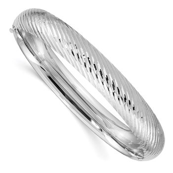 14k White Gold 7/16 Textured Hinged Bangle