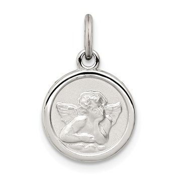 Sterling Silver Rhodium-plated Angel Medal Charm