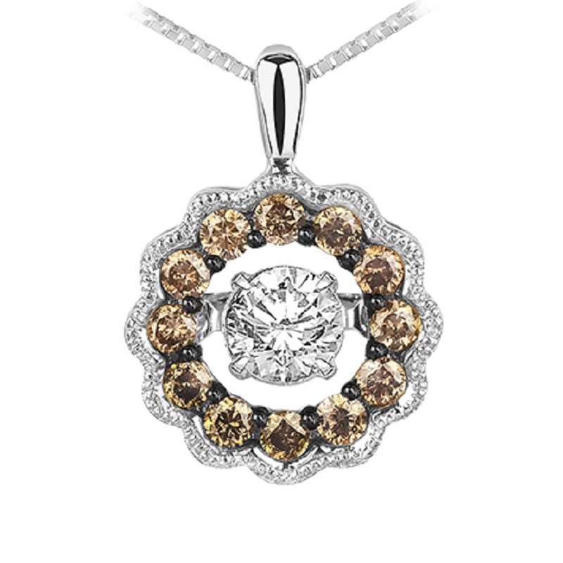 Rhythm of Love 14K Brown & White Diamond Rhythm Of Love Pendant 3/8 ctw