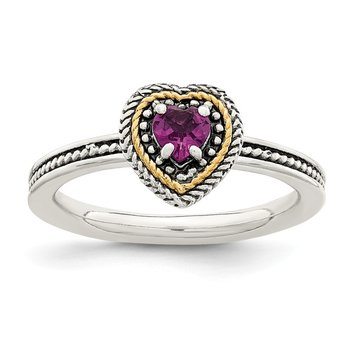 Sterling Silver w/ 14K Accent Rhodolite Garnet Heart Ring