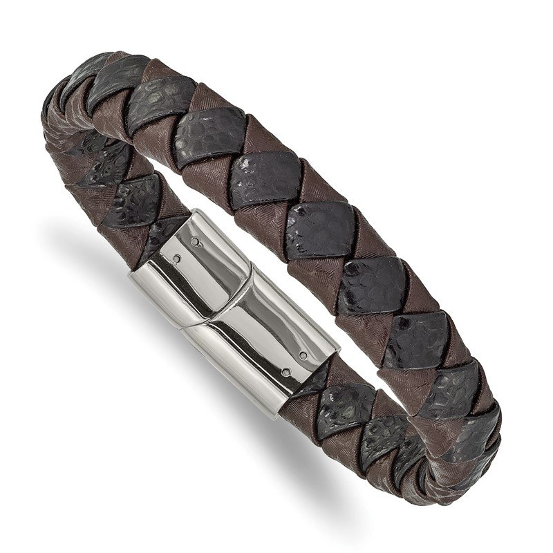Chisel Stainless Steel Polished Black and Brown Textured Leather 8in Bracelet