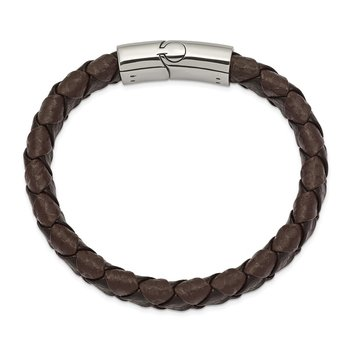 Stainless Steel Polished Black and Brown Textured Leather 8in Bracelet