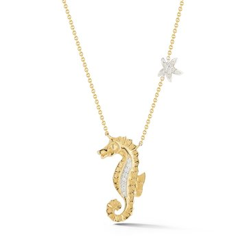 "Two Tone 14K Seahorse set with 19 diamonds  T.W 0.08C 3/4"" long"
