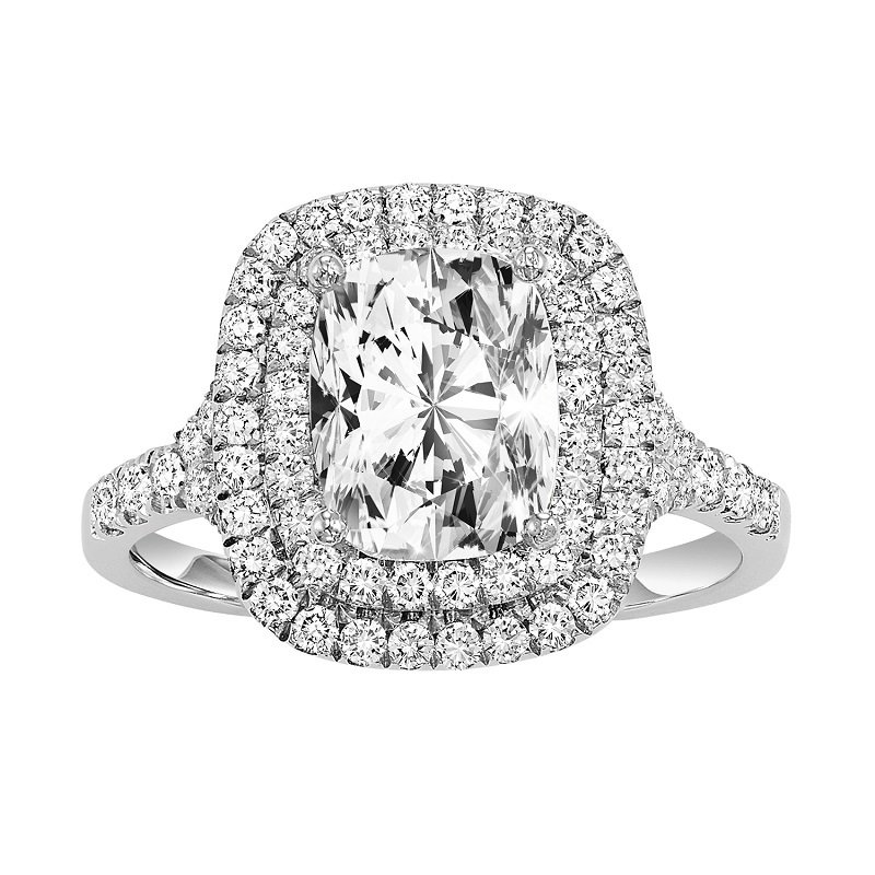Bridal Bells 14K Diamond Engagement Ring 1/2 ctw with 1 1/2 ct Cushion Center
