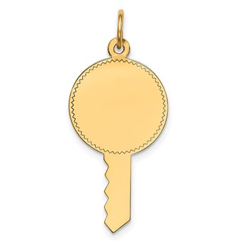 14k Plain .011 Gauge Engravable Key Charm