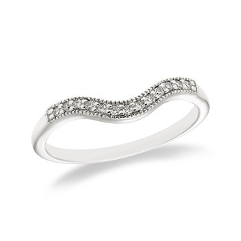 White gold & diamond curved wedding band